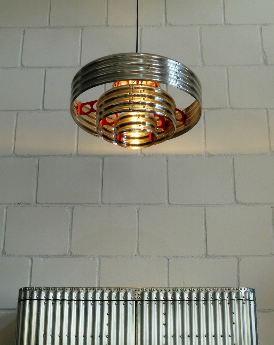 corrugated metal pendant lamp